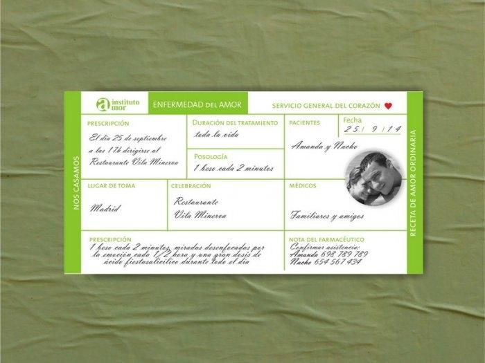 Invitación de boda - RECETA MEDICA CON FOTO    (MIL4)