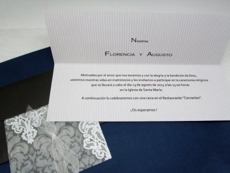 Invitación de boda elegante alargada 34902