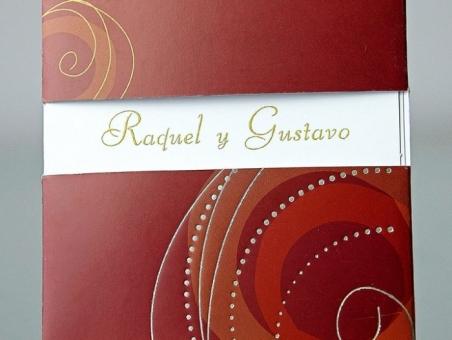 Invitación de boda barata elegande burdeos 34907
