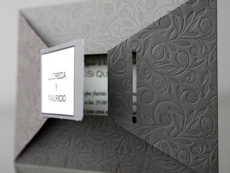 Invitación de boda elegante gris 34908