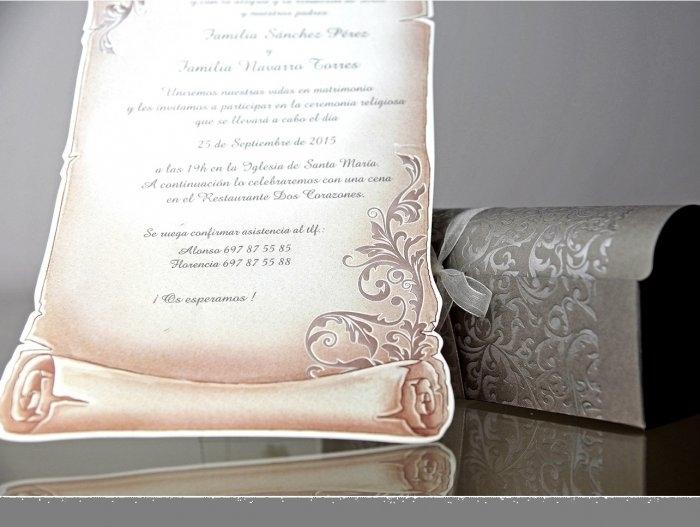 Invitación de boda - PERGAMINO EN CAJA   (C90934)
