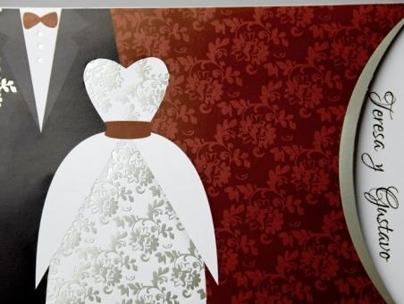 Invitación de boda barata trajes de novios 34911