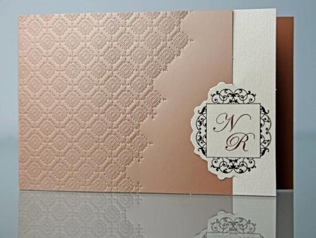 Invitación de boda elegante marron ocre 34915