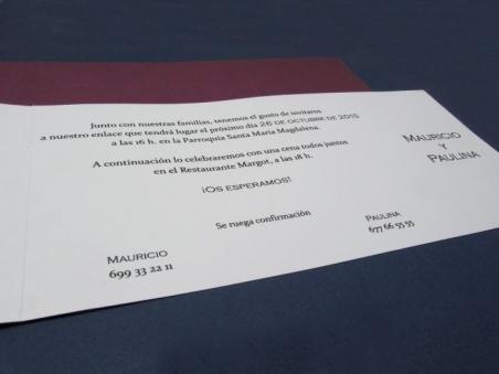 Invitación de boda elegante morada 34916