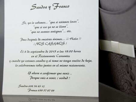 Invitación de boda barata elegante marron 34928