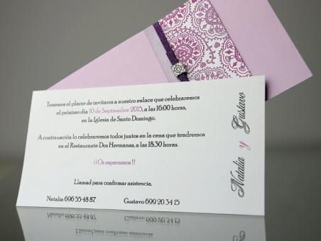 Invitación de boda elegante morada 34933