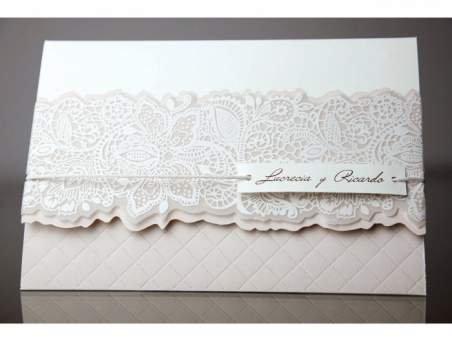 Invitación de boda barata encaje 34935