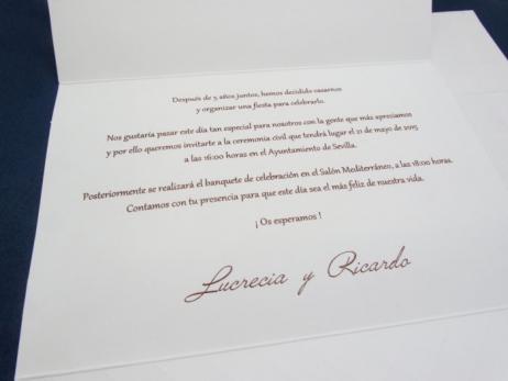 Invitación de boda - ENCAJE    (CARD 34935)