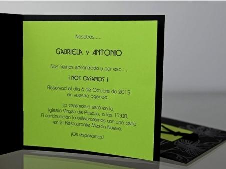 Invitación de boda elegante negra verde 34938