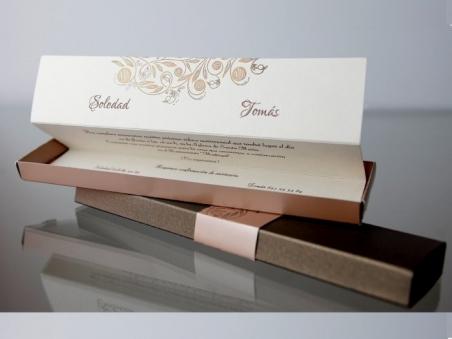 Invitación de boda elegante en caja 34939