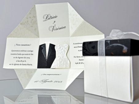 Invitación de boda elegante caja barata 34951