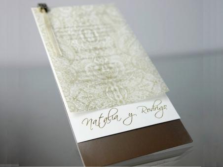 Invitación de boda elegante marron 34952