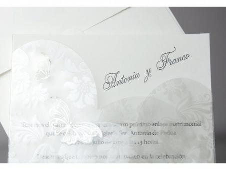 Invitación de boda elegante mariposa papel vegetal 34956