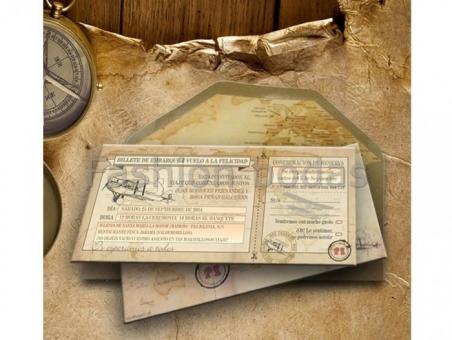 Invitación de boda original billete de avion viajes