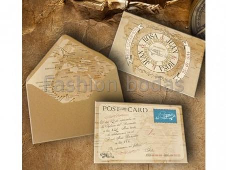 Invitación de boda viajes vintage POSTAL VIAJE PS-620