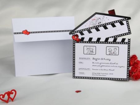Invitación de boda claqueta cine 50614
