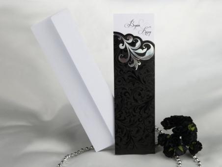Invitación de boda elegante negra 50652