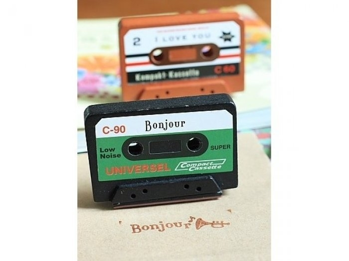 "Sello cassette ""Bonjour"" scrap en display ref.9646"