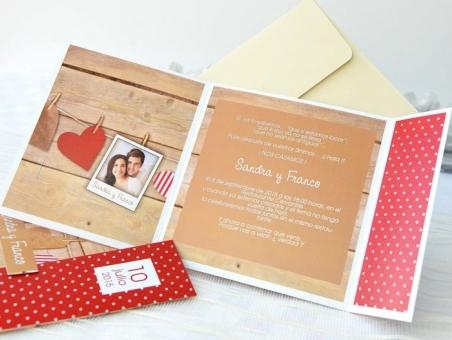 Invitación de boda con foto madera 32612