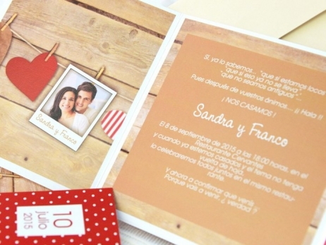 Invitación de boda - CORAZON CON FOTO   (A61232)