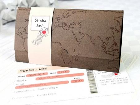 Invitación de boda original billete de avion viajes 32613