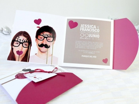 Invitación de boda -  RETRO CON FOTO   (A62332)