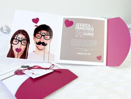 Invitación de boda con foto retro 32623