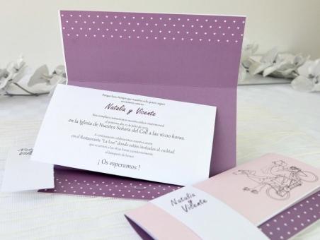Invitación de boda novios bici 32624