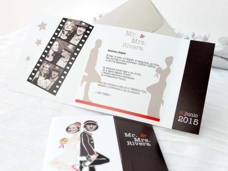 Invitación de boda con fotos pelicula 32626