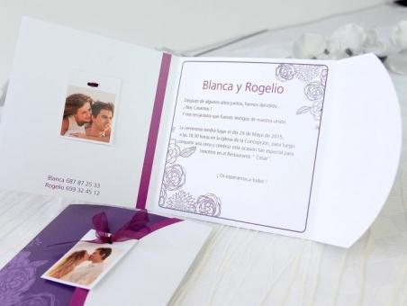 Invitación de boda floral con foto 32631