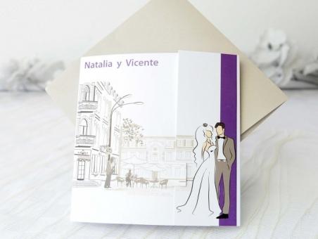 Invitación de boda barata romantica pareja 32633