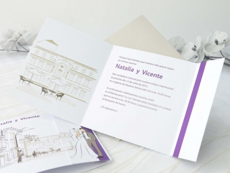 Invitación de boda -  ROMANTICA PAREJA   (A63332)