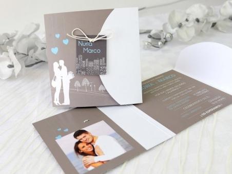 Invitación de boda elegante con foto 32639