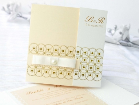 Invitación de boda elegante beis 32640
