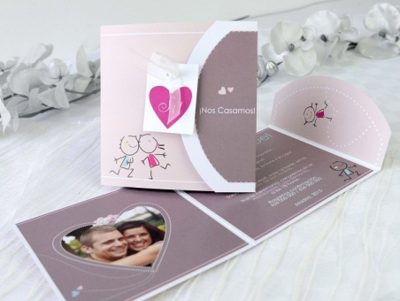 Invitación de boda barata con foto 32650