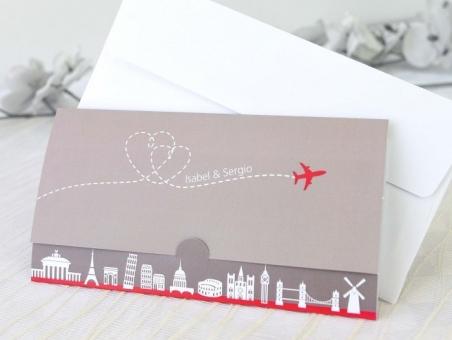 Invitación de boda billete de avion viajes 32654