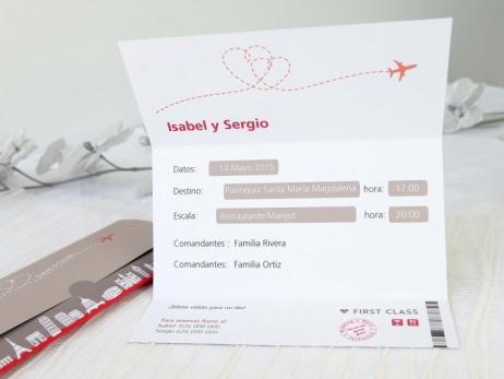 Invitación de boda - BILLETE DE AVION    (A65432)