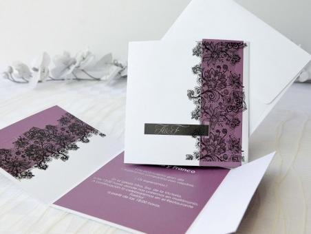 Invitación de boda elegante con encaje 32665