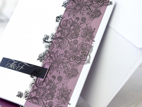 Invitación de boda - ENCAJE MORADA   (A66532)