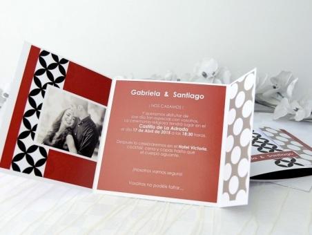 Invitación de boda con foto barata retro 32666