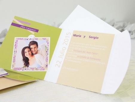Invitación de boda con fotos alegre 32667