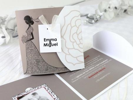 Invitación de boda elegante gris con foto 32668