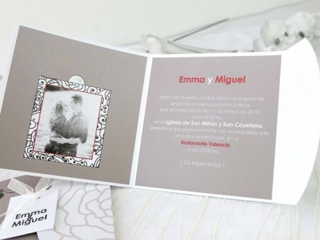 Invitación de boda - ELEGANTE GRIS CON FOTO    (A66832)