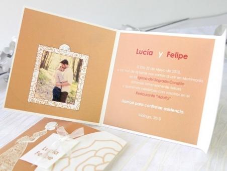 Invitación de boda elegante dorada con foto 32669
