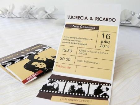 Invitación de boda con foto claqueta de cine 32670