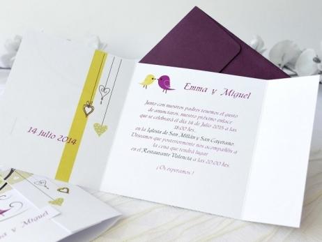 Invitación de boda - PAJARITOS   (A67832)