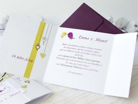 Invitación de boda barata diferente pajaritos 32678