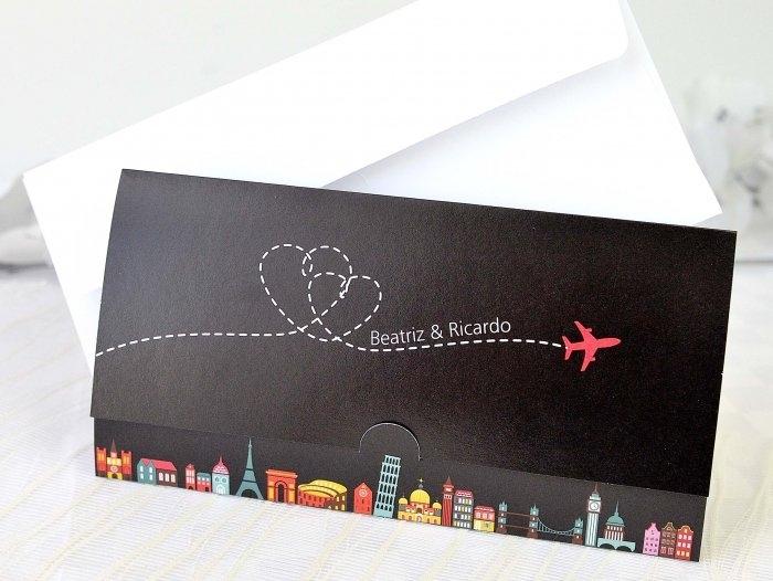 Invitación de boda - BILLETE DE AVION    (A68032)