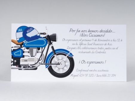 invitacion de boda original novios en la moto
