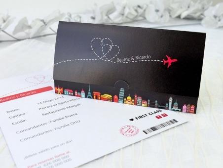 Invitación de boda barata billete de avion viajes 32680
